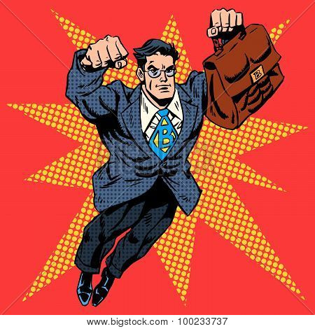 Businessman superhero work flight business concept retro style p