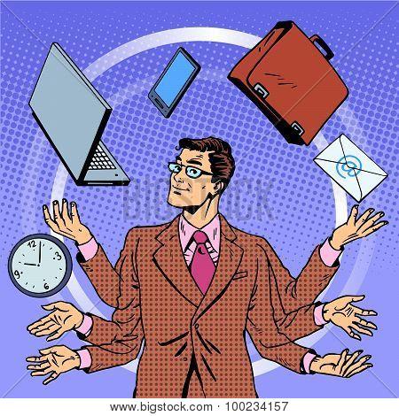 Time management businessman gadgets business concept