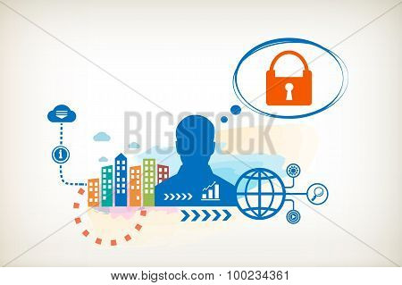 Lock And Person With Bubbles For Dialogue.