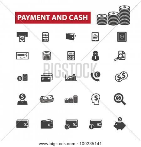 payment, cash, money black isolated concept icons, illustrations set. Flat design vector for web, infographics, apps, mobile phone servces
