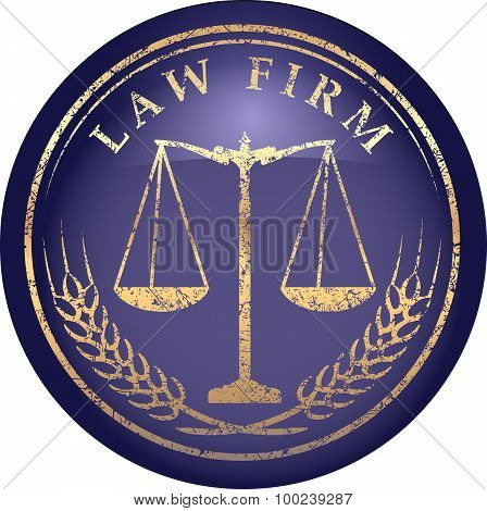 Justice Scale Icon With Caption Law Firm In Gold Grunge Style On A Glossy Shine Blue Background