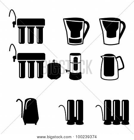Set Of Water Filter In Black Silhouette Icon