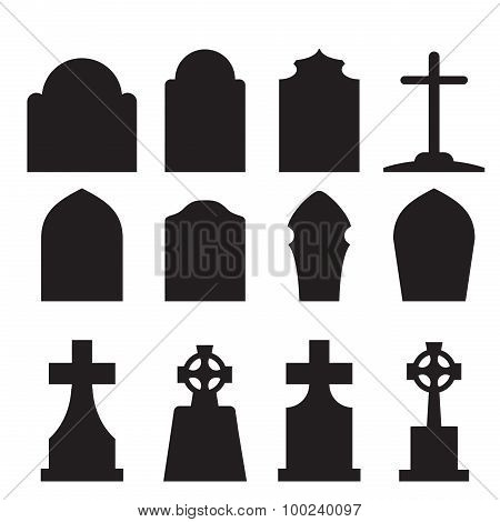 Set Of Headstone And Tombstone Silhouette