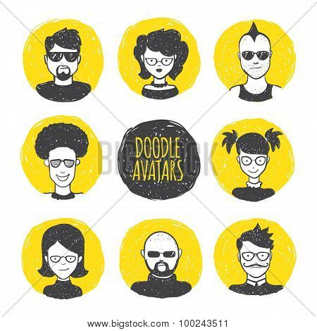 Vector user avatars in trendy hand drawn doodle style. Eight human faces on yellow circles.