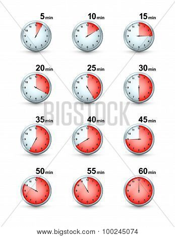 Vector Set Of Red Timer Icons. Different Time Interval Icons