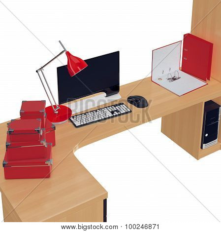 PC table with high definition widescreen monitor on it and other office stuff. 3d graphic