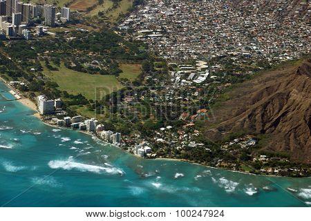 Aerial View Of Diamondhead, Kapiolani Park, Waikiki, Shell, Kapahulu Town, Pacific Ocean, Waves, And