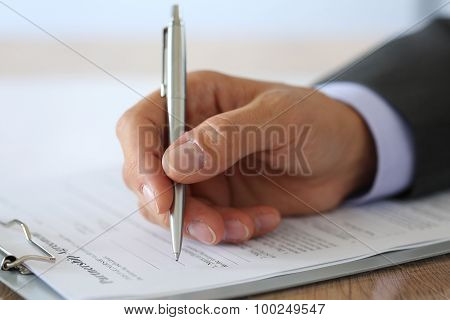 Hand Of Businessman In Suit