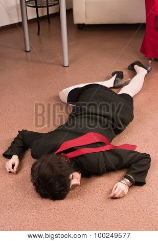 Business Woman Lying On The Floor. Crime Scene Simulation
