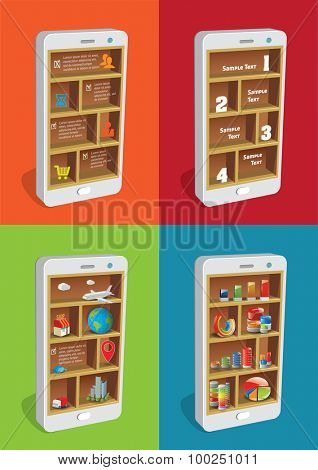 Set of illustrations smart pones with shelves and business icons.