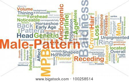 Background concept wordcloud illustration of male-pattern baldness