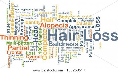 Background concept wordcloud illustration of hair loss