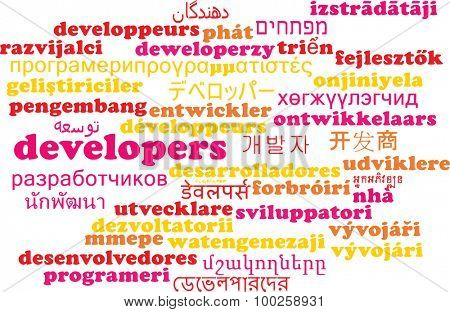Background concept wordcloud multilanguage international many language illustration of developers