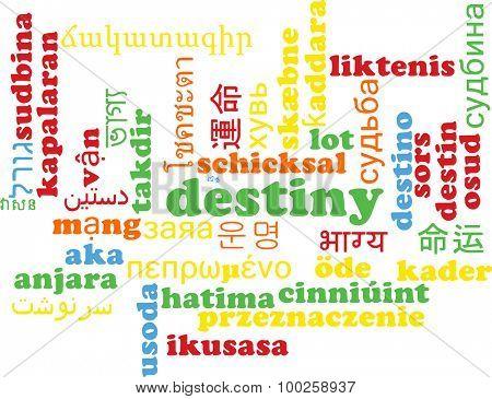Background concept wordcloud multilanguage international many language illustration of destiny