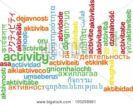 Background concept wordcloud multilanguage international many language illustration of activity