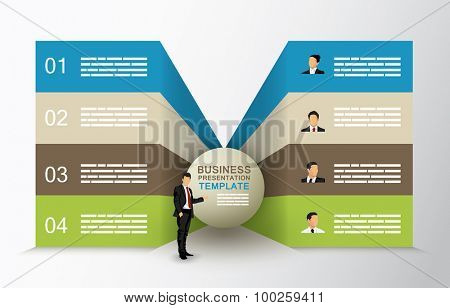 Butterfly diagram template with four options and a businessman character