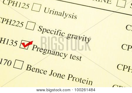 Check Mark Medical Form Request Pregnancy Test.