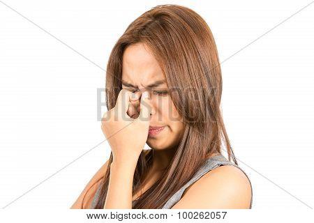 Close Up Frowning Asian Woman Headache