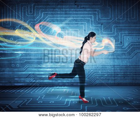 Woman Run With Laptop