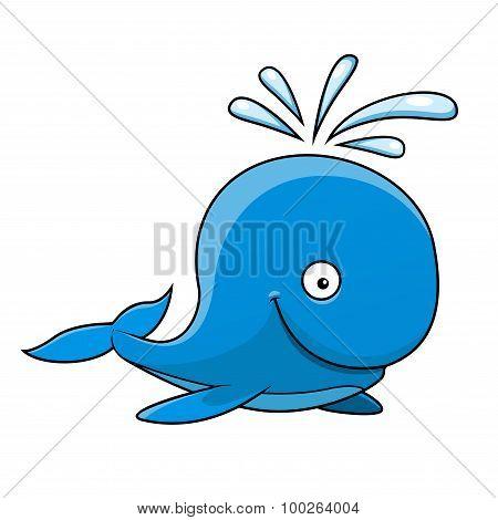 Happy little blue cartoon whale