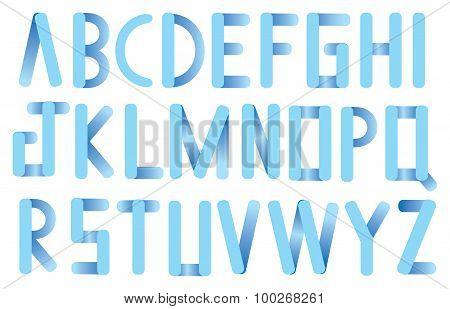 Soft Blue Rounded Corner Strips Vector Font Design