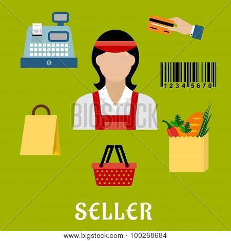 Seller concept with shopping icons