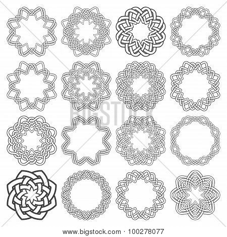 Set of magic knotting circles. Sixteen octagon decorative elements with stripes braiding for your logo or monogram frame design. Creative mandalas collection poster
