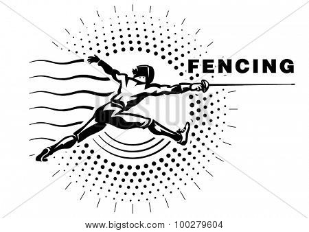 Fencer with epee. Illustration in the engraving style