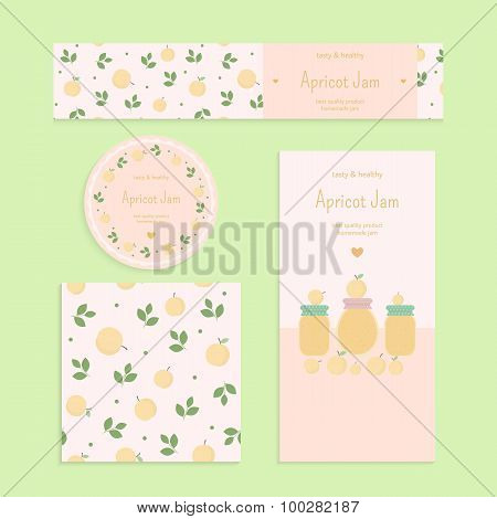 Homemade apricot jam set. Flyer, banner, brochure, label, seamless patterns with apricots, leaves and jars of jam. Vector elements for design poster