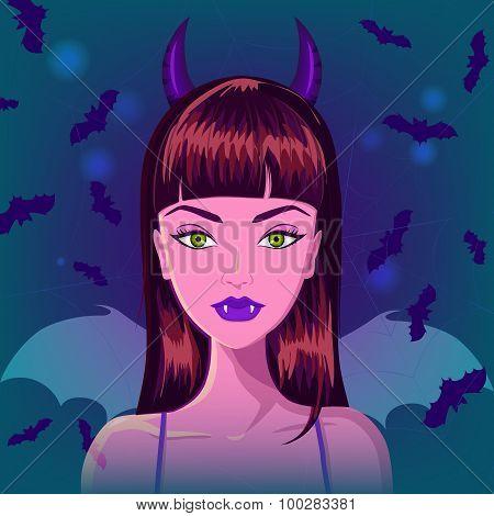 Halloween vampire bat devil girl