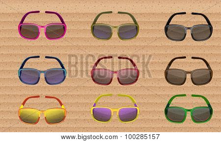 Sunglasses Colored Set. Vector