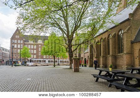 The Hague, Netherlands - May 8, 2015: People At Grote Of Sint-jacobskerk In The Hague