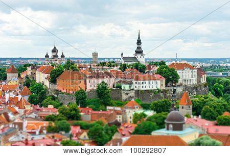Panoramic view of the old Tallinn Estonia.