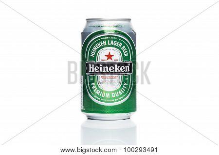 KUALA LUMPUR, MALAYSIA - August 30, 2015: Heineken beer isolated in white.