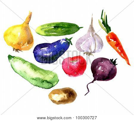 Set of  watercolor drawing vegetables