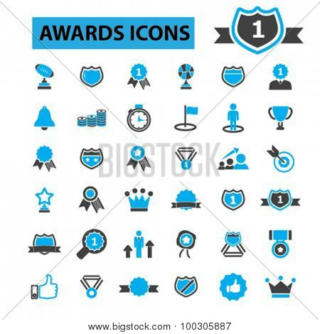 Awards icons: trophy,  certificate,  winner,  award ceremony,  award trophy,  award ribbon,  medal, win,  champion,  success,  victory,  prize,  competition, trophy cup. Vector illustration