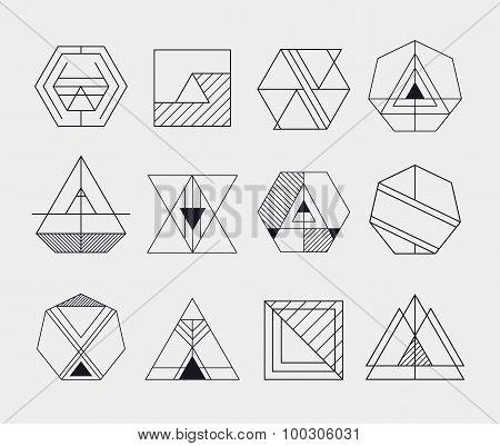 Set of retro line abstract hipster monochrome geometric badge logo, icon