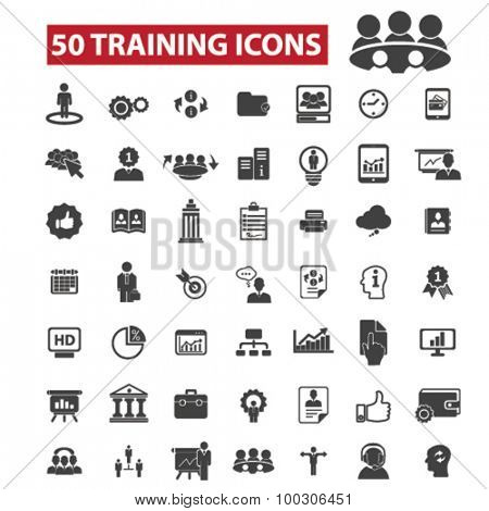 50 training concept icons: business training,  training course,  learning,  train,  education,  computer training, training and development, seminar, business meeting. Vector illustrations.