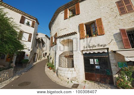 View to the street of the medieval town of St. Paul De Vence, France.