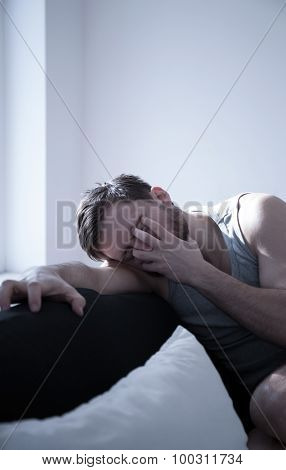Image of young male with hangover after party poster