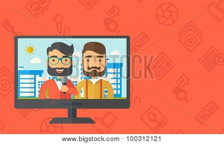 A dialog with two caucasian newscaster in a televesion. Vector flat design illustration. Horizontal layout with text sapce in right side.