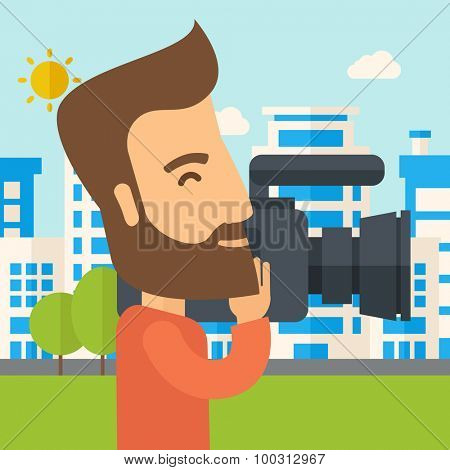 A hipster cameraman with video camera taking a video with thye buildings around. A Contemporary style with pastel palette, soft blue tinted background with desaturated clouds. Vector flat design