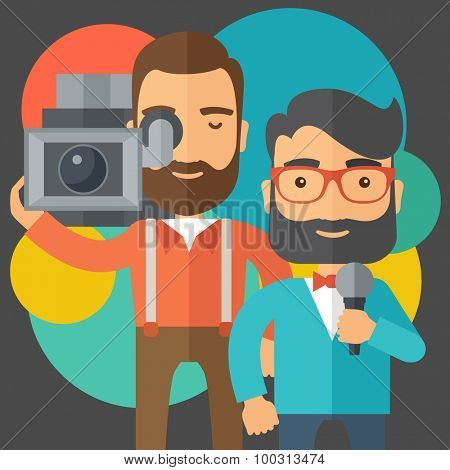 A professional caucasian journalist and news reporter with video camera and microphone broadcasting. A contemporary style with pastel palette black tinted and colorful round background. Vector flat