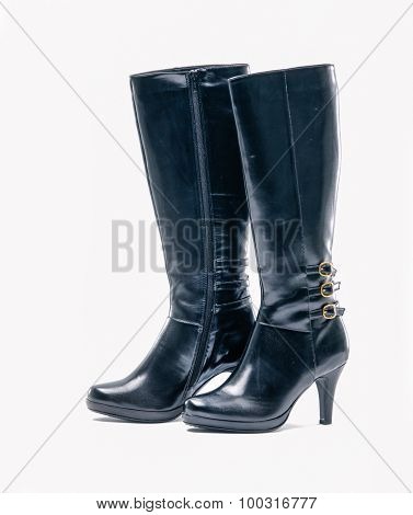 Women Black high boots on white background