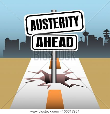 Austerity ahead signpost