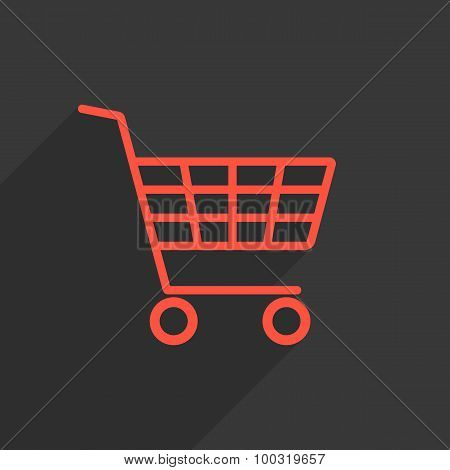 red shopping trolley with long shadow
