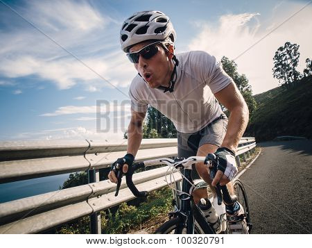 Cyclist In Maximum Effort In A Road
