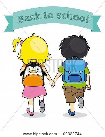 children holding hands back to school
