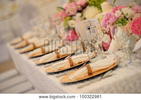 Elegant Dinner Plates At Wedding Reception