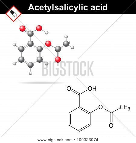 Acetylsalicylic acid - medical substance molecular structural formula and model anti-inflammatory drug 2d & 3d vector on white background eps 8 poster